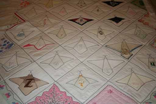 alphabet hankies custom quilting