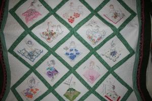 antique lady hankies quilt